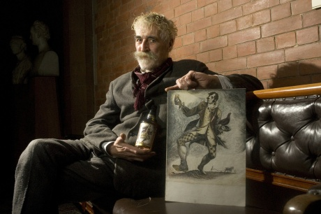 John Byrne and his drawing of Robert Burns which adorns the new Famous Grouse bottles.