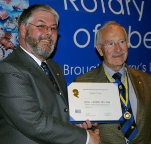 Walter Craig receiving Paul Harris Award