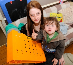 Anglea Brown with her 2-year-old Adam